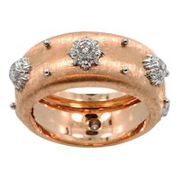 18K Rose Gold Buccellati Diamond Ring Band