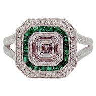 Emerald and Diamond Pave Mosaic Ring