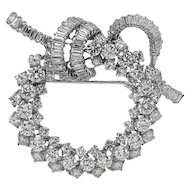 White Gold Wreath Design Diamond Pin/Brooch