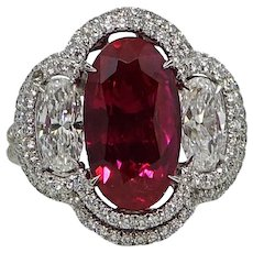 Natural 5.37 Carat No Heat Burma Ruby Diamond White Gold Ring