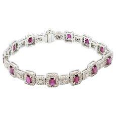 18K White Gold Ruby And Diamond Bracelet