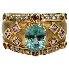 18K Yellow Gold Aquamarine Ring with Diamonds