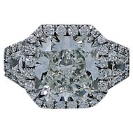 8.56 Carat Radiant Diamond Platinum Engagement Ring with GIA Report