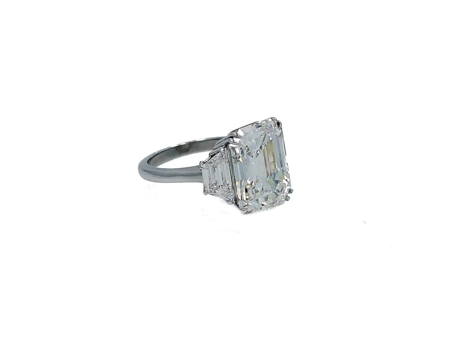 10 07 Carat Gia Emerald Cut Diamond Platinum Engagement