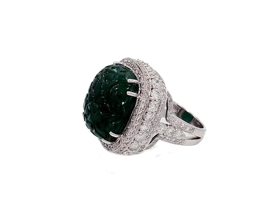 27 99 Carat Zambian Carved Emerald Ring Provident