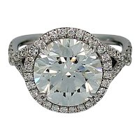 4.47 Carat GIA Cert Round Brilliant Diamond Engagement Ring