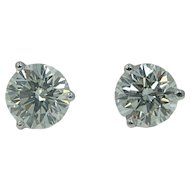 Platinum Round Brilliant Stud Earrings