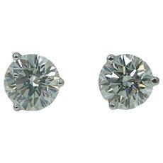 Platinum Round Brilliant Stud Earrings