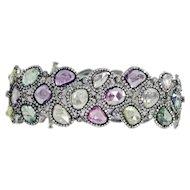 Multi Color Sapphire Diamond Gold Bracelet