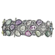 Multi Color Sapphire Diamond Gold Bracelet