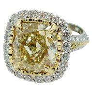 Christopher Design 10.09 carat Fancy Intense Yellow Diamond Ring