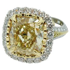 Christopher Design 10.09 carat Fancy Intense Yellow Diamond Ring