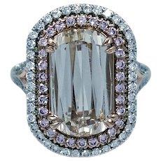 4.04 carat VVS2 Light Brown Diamond and Pink Diamond Ring