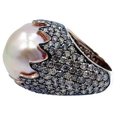 18K Rose Gold Baroque Pearl and Diamond Ring