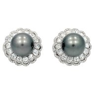 White and Black 13mm Pearl Earrings Detachable