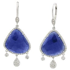 14K White Gold Sliced Sapphire And Diamond Earrings