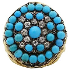 Turquoise and Diamond Yellow Gold Ring