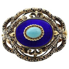 Enamel and Turquoise Yellow Gold Bangle