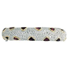 Diamond and Ruby Bangle in 18K Gold