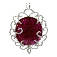 53.96 Carat Ruby Slice Pendant with Diamonds
