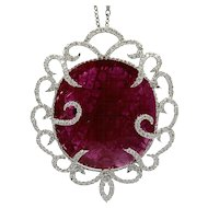 53.96 Carat Ruby Slice Pendant with Diamonds