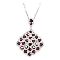 18K White Gold Ruby and Diamond Pendant Necklace