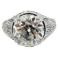 Old European Cut Round 7.02 Carat Diamond Ring