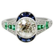 1.57 Carat Old Mine Cut Diamond Art Deco Ring with Sapphires and Emeralds