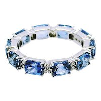 Blue Sapphire and Diamond Eternity Band