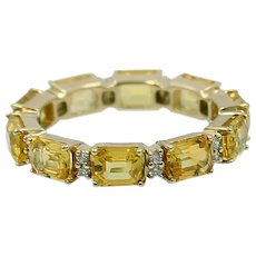 Eternity Band in Yellow gold with Yellow Sapphire's and Diamonds