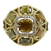18K Ring with Natural Yellow Diamond Slices