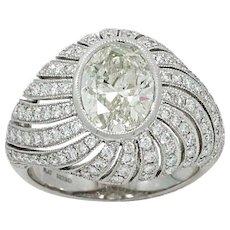 Platinum Oval Diamond Ring