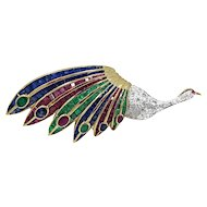 Diamond, Emerald, Ruby and Sapphire Peacock Brooch