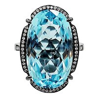 18K Black Rhodium Ring with Blue Topaz