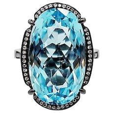 18K Black Rhodium Ring with Blue Topaz