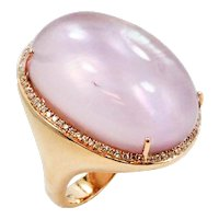 18K Rose Gold Ring With Amethyst and Diamonds