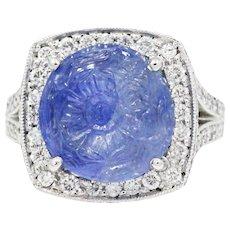 Platinum Carved Sapphire Ring