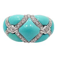 18K Ring with Diamonds and Turquoise
