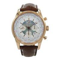 Breitling Rose Gold Transocean Chronograph Unitime Automatic Wristwatch RB0510U0/A733