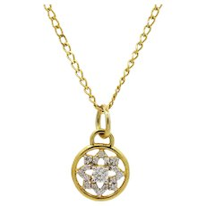 20K Buddha Mama Dharma Wheel Pendent Necklace