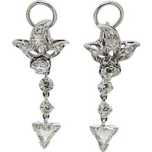 18K White Gold Old Mine Cut Diamond Earrings