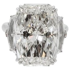 Platinum Engagement Ring with a 15.03 Carat Radiant Diamond