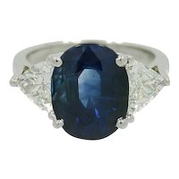 Ceylon Sapphire Trillion Diamonds Platinum Ring