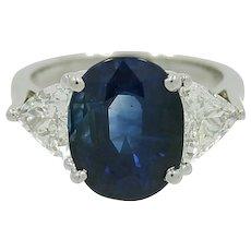 Ceylon Sapphire Trillion Diamonds Platinum Ring