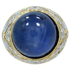 18K Yellow Gold Star Sapphire Ring
