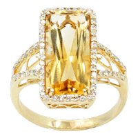 18K Yellow Gold Citrine and Diamond Ring