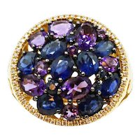 18K Yellow Gold Sapphire Amethyst and Diamond Ring