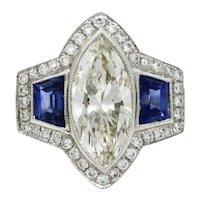 Platinum Marquise Diamond And Sapphire Ring