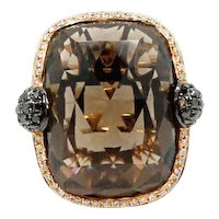 18K Rose Gold Smokey Quartz and Diamond Ring