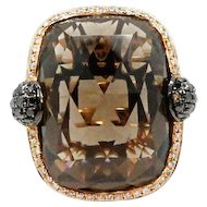 18K Rose Gold Smokey Quartz and Diamond Ring